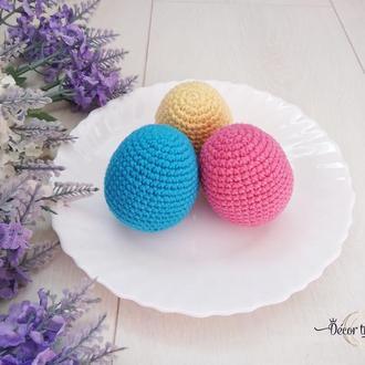 Пасхальные яйца вязаные крючком, декоративные яйца к Пасхе, пасхальный декор