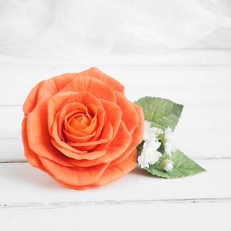 Заколка для волос с розой и гипсофилой, Свадебная оранжевая заколка с цветами, Подарок девушке