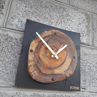 Часы настенные из спила ореха, промышленные настенные часы, уникальные настенные часы, домашние пода