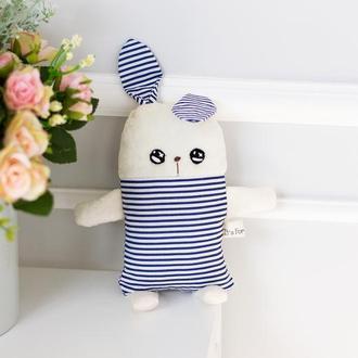 Белый плюшевый зайчик в синюю полосочку , мягкая игрушка ,подарок для детей