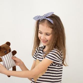 Плюшевый мишка в полосочку ,мягкая игрушка,подарок для детей