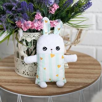 Белый зайчик в мятную полоску ,мягкая детская игрушка ,подарок
