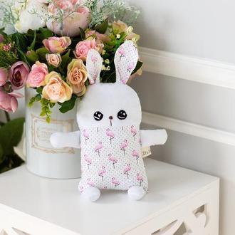 Белый плюшевый зайчик с розовыми фламинго, мягкая детская игрушка
