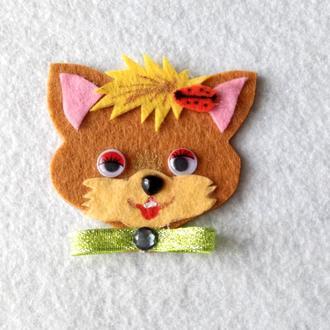 Нашивка с фетра рыжий котик