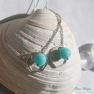 Серебряные серьги цепочки с амазонитом, серебряные серьги с камнем, подарок