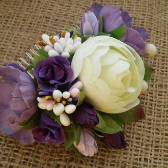 Гребешок для волос Свадебный гребешок в стиле Purple Wedding