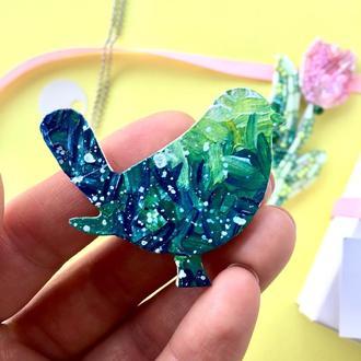 Деревянная брошь-значок «Синяя птица»