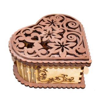 Шкатулка Деревянная Резная Сердце Шоколадное ПОД РОСПИСЬ Ажурное Резное Сердечко дерев'яна шкатулка
