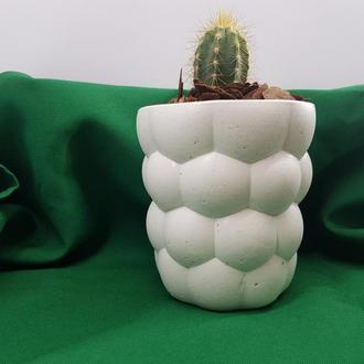 Кашпо из бетона, кашпо для цветов, кашпо для кактусов - снежная белизна