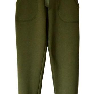 Трикотажные брюки хаки, размер XS
