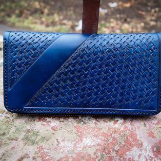 Чоловічий гаманець на Змійці, гаманець клатч, гаманець на Змійці, шкіряний гаманець, гаманець синій