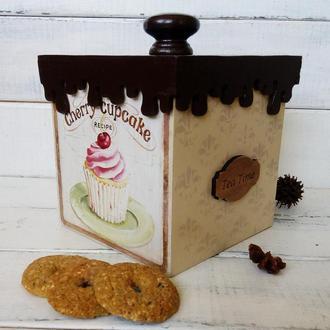Короб деревянный  шоколадный для хранения кондитерских изделий, сыпучих.