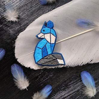 Брошка Космічне Лисеня в геометричному стилі синьо - сіре