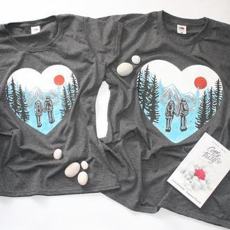 футболка ручная розпис принт family look парная гори поход