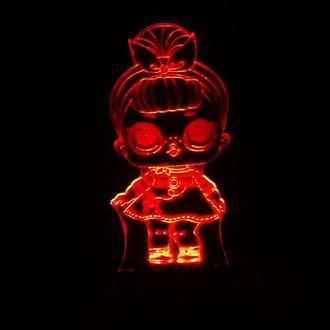 Кукла лол 2 сестричка, ночник светильник лампа, подарок девочке, детский декор lol
