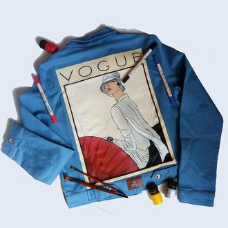 Стильная женская джинсовая курточка с рисунком на спине (ручная роспись)