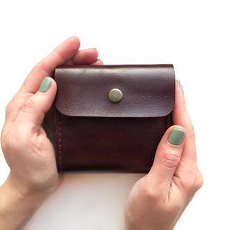 Кожаный кошелек MINI бордового цвета (глянцевая кожа)