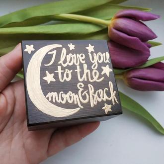 Коробка для колец I love to the moon and back