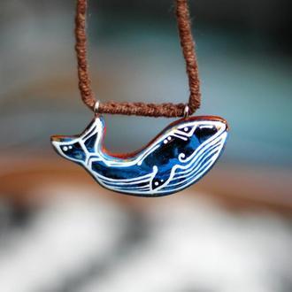 Кулон синий кит.Акриловая роспись.