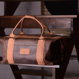 Дорожная / спортивная сумка из натуральной коричневой кожи