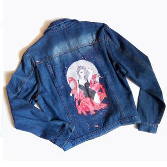 Модная джинсовая куртка «Розовый фламинго»