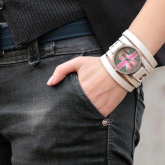 Белый кожаный ремешок для часов под циферблат 4 см код 5640