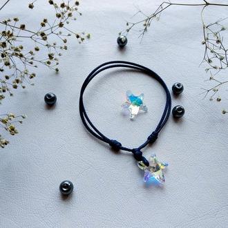 Кристалл морская звезда на синем шнуре