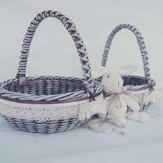 Комплект из 2-х плетеных корзин.Комплект Пасхальных корзин