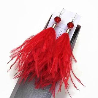 Длинные красные сережки-перья