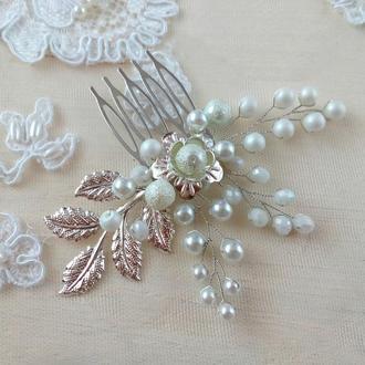 Нежный белый свадебный гребень для волос