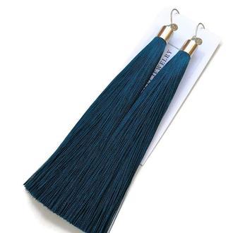 Длинные синие сережки-кисточки, цвет морской волны