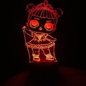 Кукла лол 1 балерина, ночник светильник лампа, подарок девочке, детский декор lol