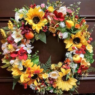 Осенний летний венок на дверь стену, осенний венок на дверь декор интерьера