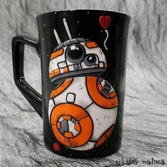 """Чашка с декором из полимерной глины """"Дроид BB-8"""""""