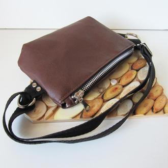 Поясная сумка коричневая экокожа