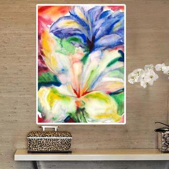 Картина акварелью Абстрактные цветы картина Букет цветов картина Ирисы картина Цветы абстракция