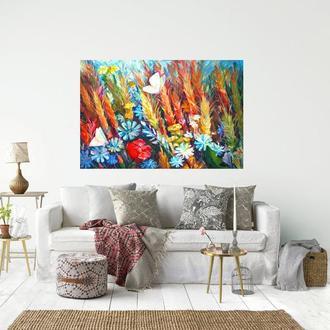 Яркая картина маслом Абстракция цветы картина Картина для интерьера Модная картина Заказать картину