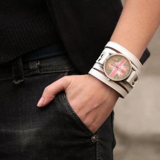 Белый прошитый кожаный ремешок для часов под циферблат 4 см код 5640ст
