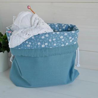 Хлопковая сумка для вязальных проектов, клубочница, подарок для вязальщицы