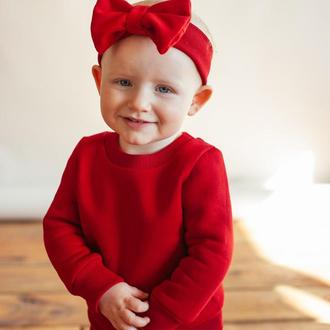 Детский красный свитшот (с начесом) костюм