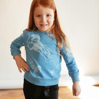 Детский голубой свитшот с медузами (без начеса)