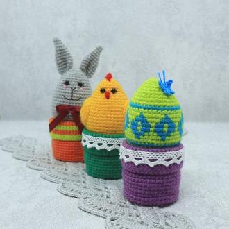 Вязаный пасхальный кролик, цыпленок и яичко (набор)
