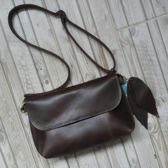 Кожаная поясная сумка. Натуральная винтажная кожа Crazy Horse (Италия)