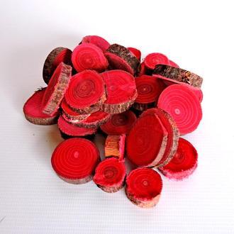 Набор спилов (срезов) ассорти красных 25шт (20-35мм)