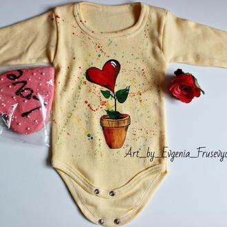Детский боди, боди, рисунок, подарок младенцу, подарок будущей маме
