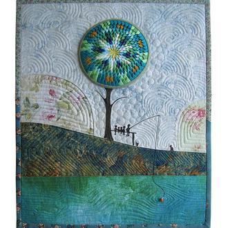 """Декор для стен, текстильное панно с мозаикой """"Веселая рыбалка"""""""