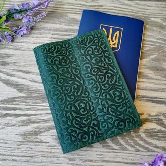 Обложка на паспорт зеленые восточные узоры