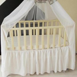 Юбка в кроватку с фатином White Tulle
