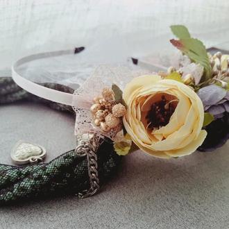 """Ободок /венок на голову из искусственных цветов """"Нежное кружевце"""" №3 Золото"""