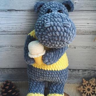 Игрушка бегемот, плюшевая игрушка для девочки, подарок ребёнку на день рождения, мягкая игрушка